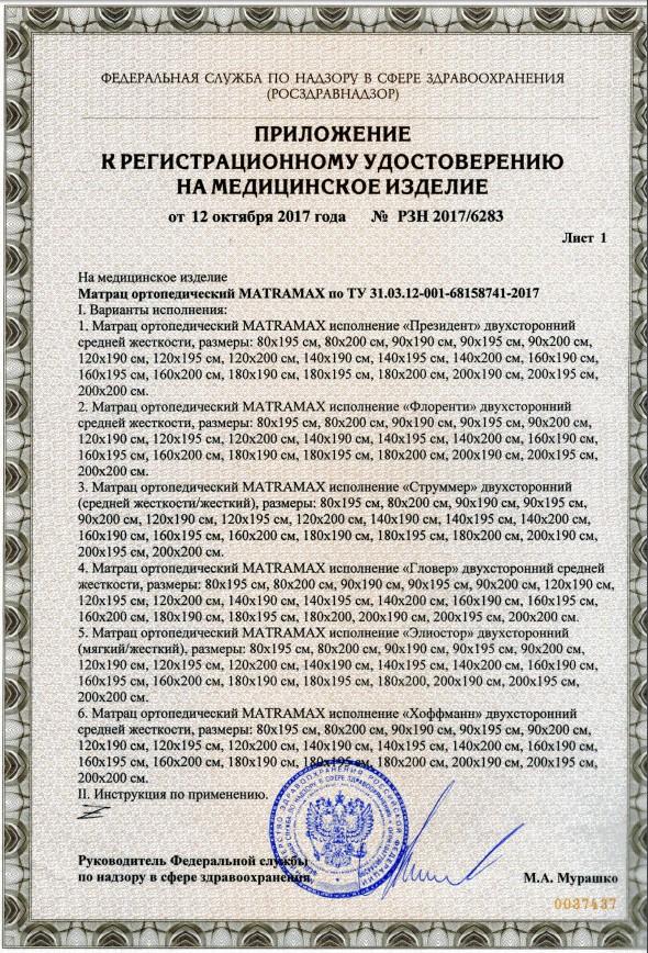 Сертификат на ортопедический матрас